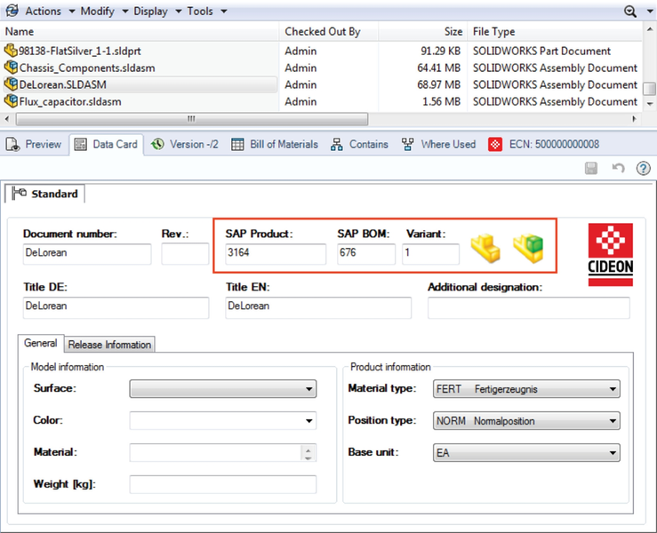 Additional SAP information in the data card of an assembly