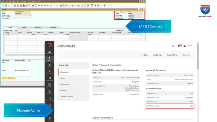 i95Dev Connect - Shipping Sync - Magento and SAP Business One