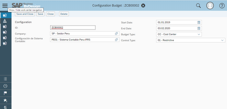 Budget Configuration Overview