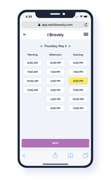 Scheduling a Bravely session on demand is easy, with same-day availability